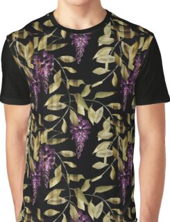 Seamless floral pattern background flowers ornament wallpaper textile Illustration glicinia Graphic T-Shirt
