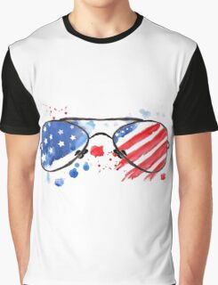 Hipster Glasses with stars and strips. Graphic T-Shirt