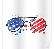 Hipster Glasses with stars and strips. Poster