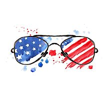 Hipster Glasses with stars and strips. Photographic Print