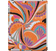 Orange and Black Abstract Floral Zentangle iPad Case/Skin