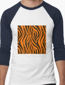 Orange Zebra Animal Print Pattern Men's Baseball ¾ T-Shirt
