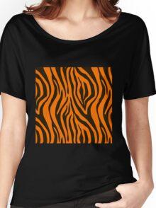 Orange Zebra Animal Print Pattern Women's Relaxed Fit T-Shirt