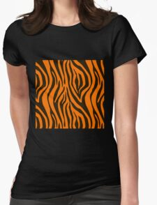 Orange Zebra Animal Print Pattern Womens Fitted T-Shirt