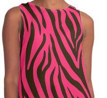 Pink Zebra Animal Print Pattern Contrast Tank