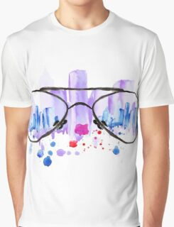 Watercolor vintage glasses New York with drops and splash Graphic T-Shirt