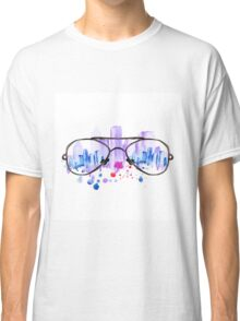 Watercolor vintage glasses New York with drops and splash Classic T-Shirt