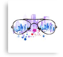Watercolor vintage glasses New York with drops and splash Canvas Print