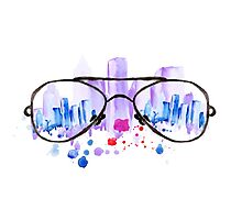 Watercolor vintage glasses New York with drops and splash Photographic Print