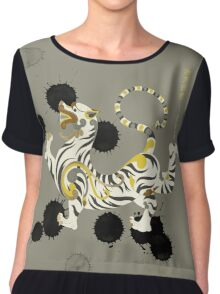 White Tiger of the West Chiffon Top