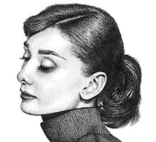 Audrey Hepburn Stippling Portrait by Joanna Albright