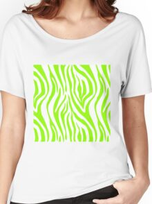 Bright Green Zebra Animal Print Pattern Women's Relaxed Fit T-Shirt