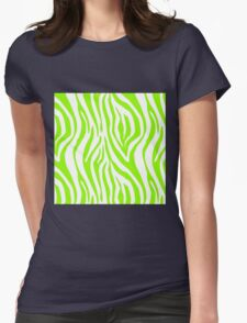 Bright Green Zebra Animal Print Pattern Womens Fitted T-Shirt