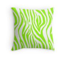 Bright Green Zebra Animal Print Pattern Throw Pillow