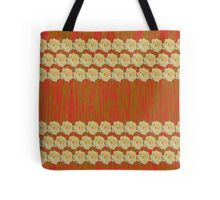 Yellow Rose Distorted on Red and Green Tote Bag