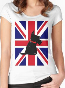 Scottie Dog Union Jack Women's Fitted Scoop T-Shirt