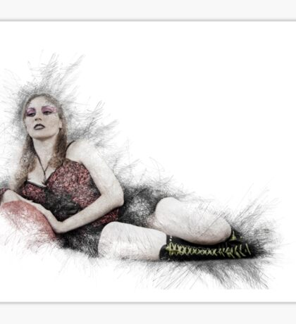 arrogant model in red corset reclining on a black leather couch  Sticker