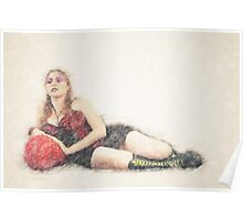 arrogant model in red corset reclining on a black leather couch  Poster
