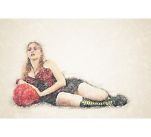 arrogant model in red corset reclining on a black leather couch  Photographic Print