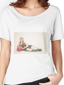 arrogant model in red corset reclining on a black leather couch  Women's Relaxed Fit T-Shirt