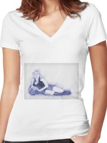 arrogant model in red corset reclining on a black leather couch  Women's Fitted V-Neck T-Shirt