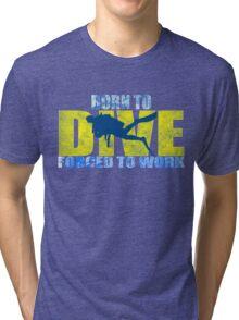 funny diving shark divers Tri-blend T-Shirt