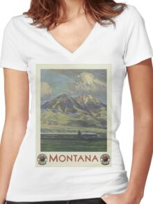 Montana Vintage Travel Poster Women's Fitted V-Neck T-Shirt