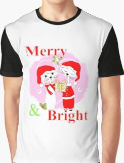Cute Cartoon Christmas Theme Cat Lovers Merry And Bright  Graphic T-Shirt