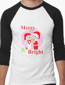 Cute Cartoon Christmas Theme Cat Lovers Merry And Bright  Men's Baseball ¾ T-Shirt