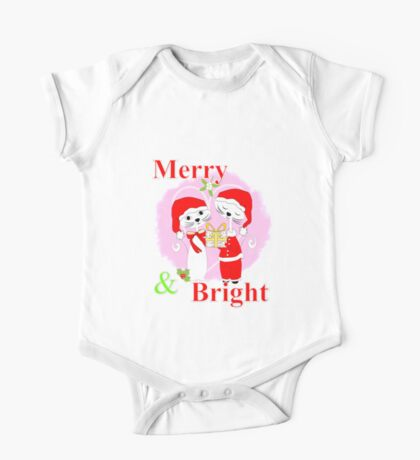 Cute Cartoon Christmas Theme Cat Lovers Merry And Bright  One Piece - Short Sleeve