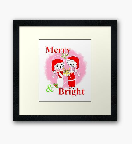 Cute Cartoon Christmas Theme Cat Lovers Merry And Bright  Framed Print