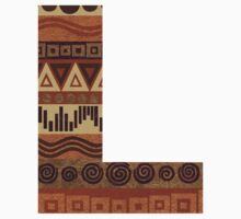 Letter L Leather Look Pattern Tribal Ethnic Monogram Initial One Piece - Short Sleeve