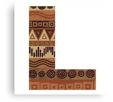 Letter L Leather Look Pattern Tribal Ethnic Monogram Initial Canvas Print