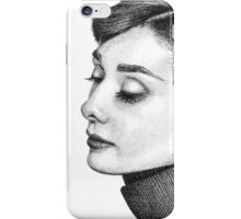 Audrey Hepburn Stippling Portrait iPhone Case/Skin