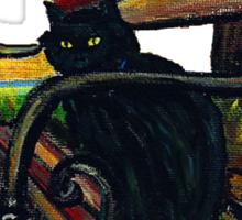 Black Cat on Park Bench Sticker
