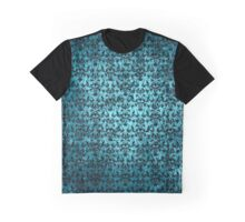 Dark Teal Victorian Grunge Damask Graphic T-Shirt