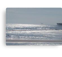 Sea Gull Flying Over Ocean Canvas Print