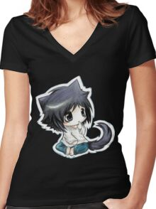 L Chibi Death Note Women's Fitted V-Neck T-Shirt