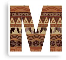Letter M Leather Look Pattern Tribal Ethnic Monogram Initial Canvas Print