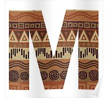 Letter M Leather Look Pattern Tribal Ethnic Monogram Initial Poster