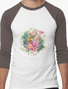 Tropical floral, flamingos and gold strokes pattern Men's Baseball ¾ T-Shirt