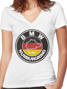 BMW NURBURGRING LOGO GERMAN FLAG Women's Fitted V-Neck T-Shirt