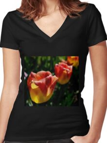 tulips 3 Women's Fitted V-Neck T-Shirt