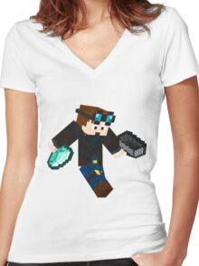 Diamonds Minecraft Women's Fitted V-Neck T-Shirt