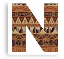 Letter N Leather Look Pattern Tribal Ethnic Monogram Initial Canvas Print