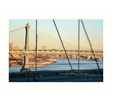 Manhattan bridge as seen from Brooklyn bridge Manhattan, New York City, New York, USA Art Print