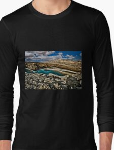 Water pools in sink holes on the shore of the Dead Sea, Israel Long Sleeve T-Shirt
