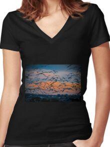 A flock of birds in flight at dawn Photographed at Hula Lake, Israel Women's Fitted V-Neck T-Shirt