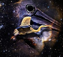 Heron in Space Duvet by GolemAura