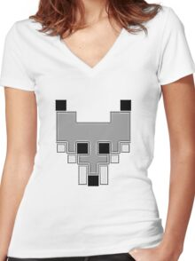 Cubic Style 8-Bit Fox face Women's Fitted V-Neck T-Shirt